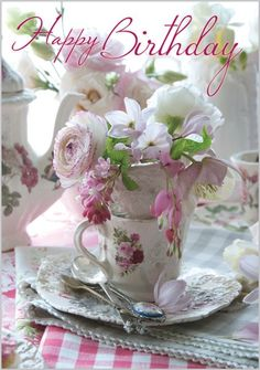 Card Ranges » 7126 » Vintage teacups and flowers - Abacus Cards - Greetings Cards, Gift Wrap & Stationery