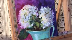 A 20 minute hydrangea painting to start your weekend early! This was a lot of fun to create and I used my favorite violets and teals on ampersand panel in oils. Distressed wood coffee table - coffee tables - omaha - by Nollette Metal Works Discount Coffee Painting Videos, Painting Lessons, Art Lessons, Painting & Drawing, Watercolor Paintings, Oil Paintings, Paintings Of Flowers, Oil Painting Tips, Paint Flowers