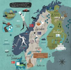 "Scandinavia 2015 AD: Sweden, Norway, Finland, Iceland and Denmark - by Martin Haake. I'm putting this under ""Native Pride"" because for me I just found out that I'm Scandinavian. Travel Maps, Travel Posters, Places To Travel, Norway Today, Vasa Museum, Voyage Suede, Sweden Travel, Sweden Map, Denmark Map"