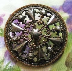 Antique button filigree & cut steel with a by TheLadyatSkiers, £12.00
