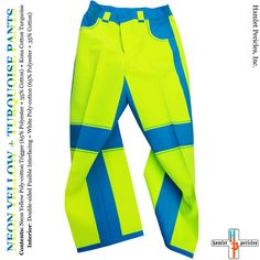7adc453a Neon Yellow Turquoise Pants via Hamlet Pericles, Inc.    #HamletPericlesFashion #Fashion #