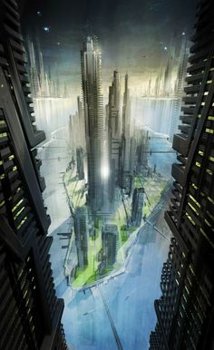 Futuristic City, Cyberpunk Atmosphere, Futuristic Architecture, Concept art by Darren Douglas. — [via Concept Ships]