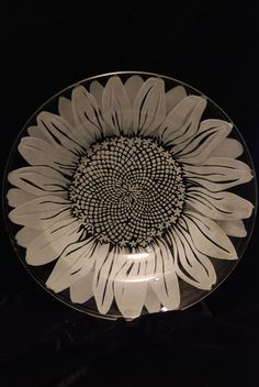 """Sunflower design on glass bowl 7"""" diameter. Currently available at The Market at Boyer's Junction, PA."""