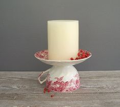 turn a cup and saucer into a candle holder.
