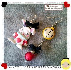 Boucles d'oreilles - Lapin Blanc+montre