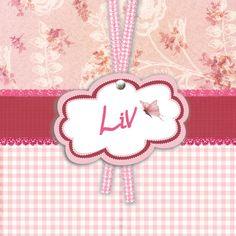 Geboortekaartje Liv www.hetuilennestje.nl Label, lint, vlinder, bloemen, roze.