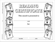 Reading Certificate: Incentive Award