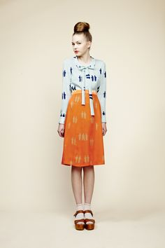 40's retro silky prints.  I've got a thing for orange lately, even tho I look awful in it. (Designer Charlotte Taylor)