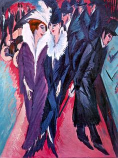 Ernst Kirchner, Berlin Street Scene, 1913  Things to keep in mind when studying: This is an example of what movement? What profession do these women engage in? How do they interact with the men in the scene? Be able to discuss Kirchner's style + nationality as it relates to the movement