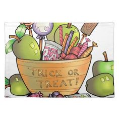 Trick or Treat Candy Bowl Cloth Placemat - kitchen gifts diy ideas decor special unique individual customized