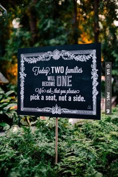 "Vintage inspired ""pick a seat not a side"" sign, photo by Ash Imagery"