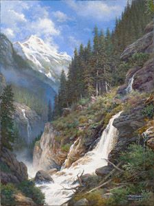 Cloudy Dominion by Larry Dyke - Dyke is a master at painting the natural landscape and the breathtaking scenes that make America so beautiful. This magnificent image features a canyon slicing through rocky, rugged terrain. Although shrouded under a cloudy sky, the remote landscape reveals the beauty of waterfalls cascading down the mountains, feeding the canyon waters. This remote dominion in God's kingdom will endure through the ages.