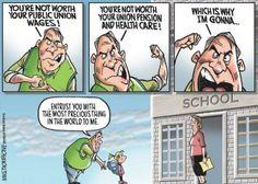 """Detroit Free Press cartoon nicely sums the """"mooching teachers"""" debate"""