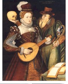 'Death and the Maiden', an allegorical painting of a young woman playing a lute, with the figure of Death behind her, about 1570.