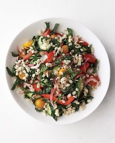 Vegetable-Barley Salad   Martha Stewart's Everyday Food.  Note: Uses red onion marinated in white wine vinegar, Tuscan kale, tomatoes, cucumber and red bell pepper.