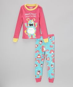 Take a look at this Pink & Aqua 'Monsters' Pajama Set - Toddler & Kids by Lazy One on #zulily today!