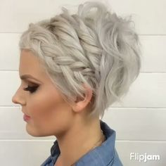 visit for more Pixie Hairstyle for Prom Braided Short Hair Styles The post Pixie Hairstyle for Prom Braided Short Hair Styles appeared first on kurzhaarfrisuren. Braids For Short Hair, Short Hair Cuts, Short Pixie, Braided Short Hair, Edgy Pixie, Braids For Pixie Cuts, Bob With Braid, Short Hairstyles With Braids, Style Short Hair Pixie