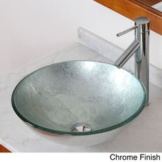 A brand new design from Europe, this Elite glass bathroom vessel sink comes in a vivid silver wrinkle design. The lovely single lever faucet is available in either a chrome, brushed nickel, oil rubbed bronze or satin nickel finish.