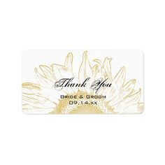 Sunflower Graphic Wedding Thank You Label