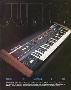 Roland synthesizer advertisement from the front-inside cover of Keyboard Magazine July This advertisement ran in Keyboard ma. Recording Equipment, Audio Equipment, Vintage Synth, Vintage Keys, 80s Synth, Roland Juno, Drum Machine, Retro Waves, Electronic Music