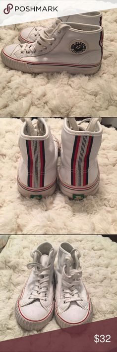 Vintage PF Flyers No trades! No modeling! Love these, still not 100% sure if I want to get rid of them so I'll only sell for the right price. Size 7. But I'm a 7.5 and they fit me fine. No tears. Still in good used condition. Urban Outfitters Shoes Sneakers