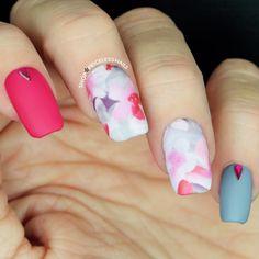 Matte & watercolor nails! ✨