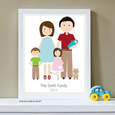 Custom Portrait, Family Portrait, New Baby, Family of Five and Pet, Father's Day, Christmas