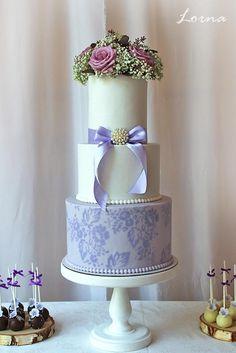 White & purple.. by Lorna - http://cakesdecor.com/cakes/254697-white-purple
