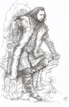 loobeeinthesky:    Thorin Oakenshield.  Drew this on New Years dayfor a friend after seeing The Hobbit on New Years Eve, best way to call in a new year ;) Though could have done without drawing this through a hangover, any mistakes I blame on the booze, next art will be drawn with a more sober disposition in mind. Though maybe the Dwarves would have approved of my New Year shenanigans.
