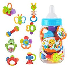 Rattle Teether Set Baby Toys - Wishtime Shake and Grap Baby Hand Development Rattle Toys for Newborn Infant with Giant Bottle Gift for 3 6 9 12 Baby Set, Newborn Toys, Baby Toys, Toddler Toys, Baby Monat Für Monat, Shake, Alice, Developmental Toys, Baby Hands