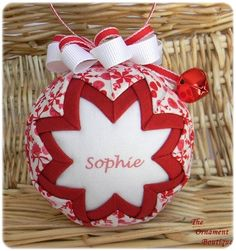 Personalized Christmas Ornament Quilted ornament red white on Etsy, $24.00