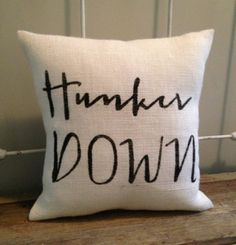 "Burlap Pillow - ""Hunker Down"" - UGA football, Bulldawgs, University of Georgia - Made to Order, Graduation Gift Burlap Pillows, Down Pillows, Throw Pillows, Georgia Girls, University Of Georgia, Georgia Bulldogs, Graduation Gifts, Home Interior Design, Football"