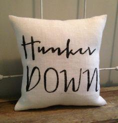 "Burlap Pillow - ""Hunker Down"" - UGA football, Bulldawgs, University of Georgia - Custom Made to Order"