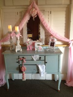 Vintage baby shower table