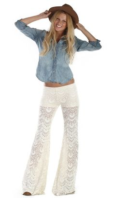 NIGHT CAP CLOTHING SPANISH FAN LACE PANT IVORY $198- CALL SPLASH TO ORDER 314-721-6442