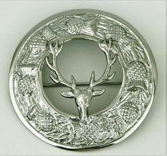 "Celtic Brooch Chrome Finish 3/""//Kilt Fly Plaid Pin Brooch Stag Head Crest Emblem"