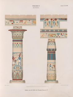 Elevations of the columns in the hall of the Temple of Ramses II, Thebes Ancient Egyptian Architecture, Ancient Buildings, Egyptian Symbols, Egyptian Art, Egyptian Temple, Egyptian Jewelry, Luxor, Halle, Friedrich Wilhelm Iv