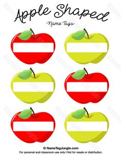 Free printable apple-shaped name tags. The template can also be used for creating items like labels and place cards. Download the PDF at http://nametagjungle.com/name-tag/apple-shaped/
