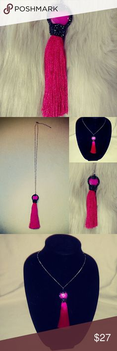 "HANDMADE 💕Hot Pink Tassel Necklace💕 Agate crystal encrusted silky tassel necklace. The pendant has dark gray crystal embellishments at the top with a hot pink stone & silky tassel. The pendant is 4 1/2"" & the chain is 30"". The chain is nickel free. Handmade Jewelry Necklaces"