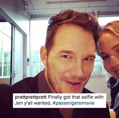 To appease the people, Chris has now uploaded four pictures with Jen.   Chris Pratt Is Cropping J Law Out Of Every Photo And It's So Funny