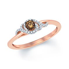 1/4 CT. T.W. Champagne and White Diamond Swirl Promise Ring in 10K Rose Gold