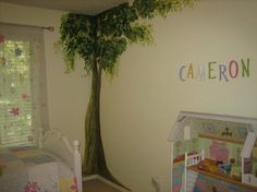 Kids Bedroom, Amusing Tree And Cameron Painting Mural Wall Decor Designed For Girl With Single Bed Glass Window Bedding Floral Curtain Storage Carpet: Bedroom design ideas for your kids