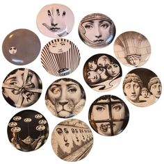 Fornasetti, Series of 12 Plates, Ceramic Enameled, Signed and Numerated | From a unique collection of antique and modern ceramics at https://www.1stdibs.com/furniture/folk-art/ceramics/