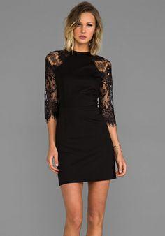28941f6621 BB DAKOTA Princeton Ponte Dress w  Lace Sleeves in Black - Black  92  Christmas Cocktail