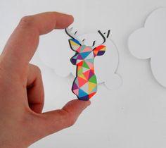 Geometric Deer Brooch Neon 'Stag Head' by SketchInc on Etsy, £10.50