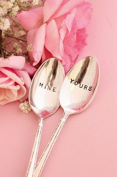 Mine and Yours spoon set: Ice cream coffee tea or cereal spoons. Recycled vintage silverware