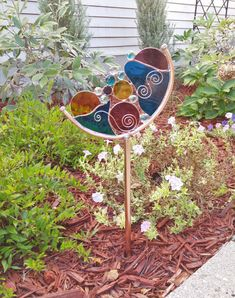 Stained glass Crescent Abstract Garden Art Stake by BelloGlass