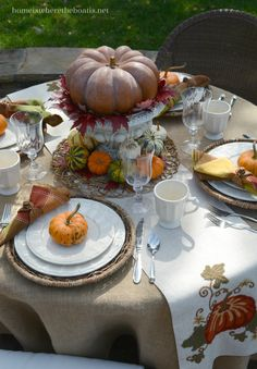Fall table with pumpkin in urn centerpiece and runner | homeiswheretheboatis.net #tablescape