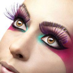 eyelashes - purple with metallic strips