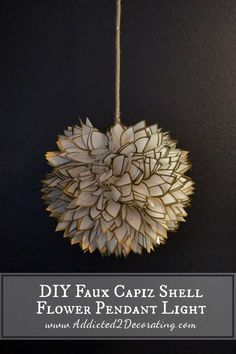 DIY Faux Capiz Shell Flower Pendant Light - Addicted 2 Decorating® False mother-of-pearl Lotus Flowe Diy Pendant Light, Pendant Lamp, Pendant Lights, Diy Hanging, Hanging Lights, Capiz Shell Chandelier, Diy Kitchen Projects, Diy Projects, Diy Luminaire